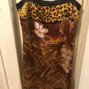 Cache strap print day dress silk sz 12